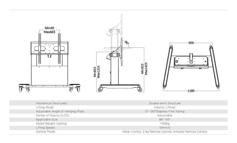 LCD inserted Electric Lifting Trolley Double Arms