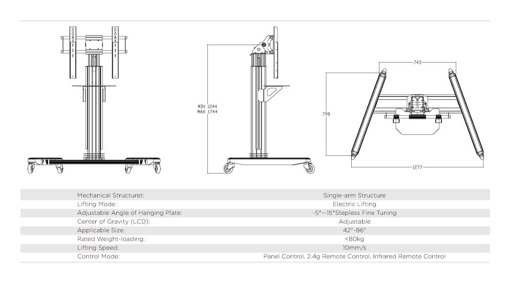 LCD inserted Electric Lifting Trolley Single Arm1
